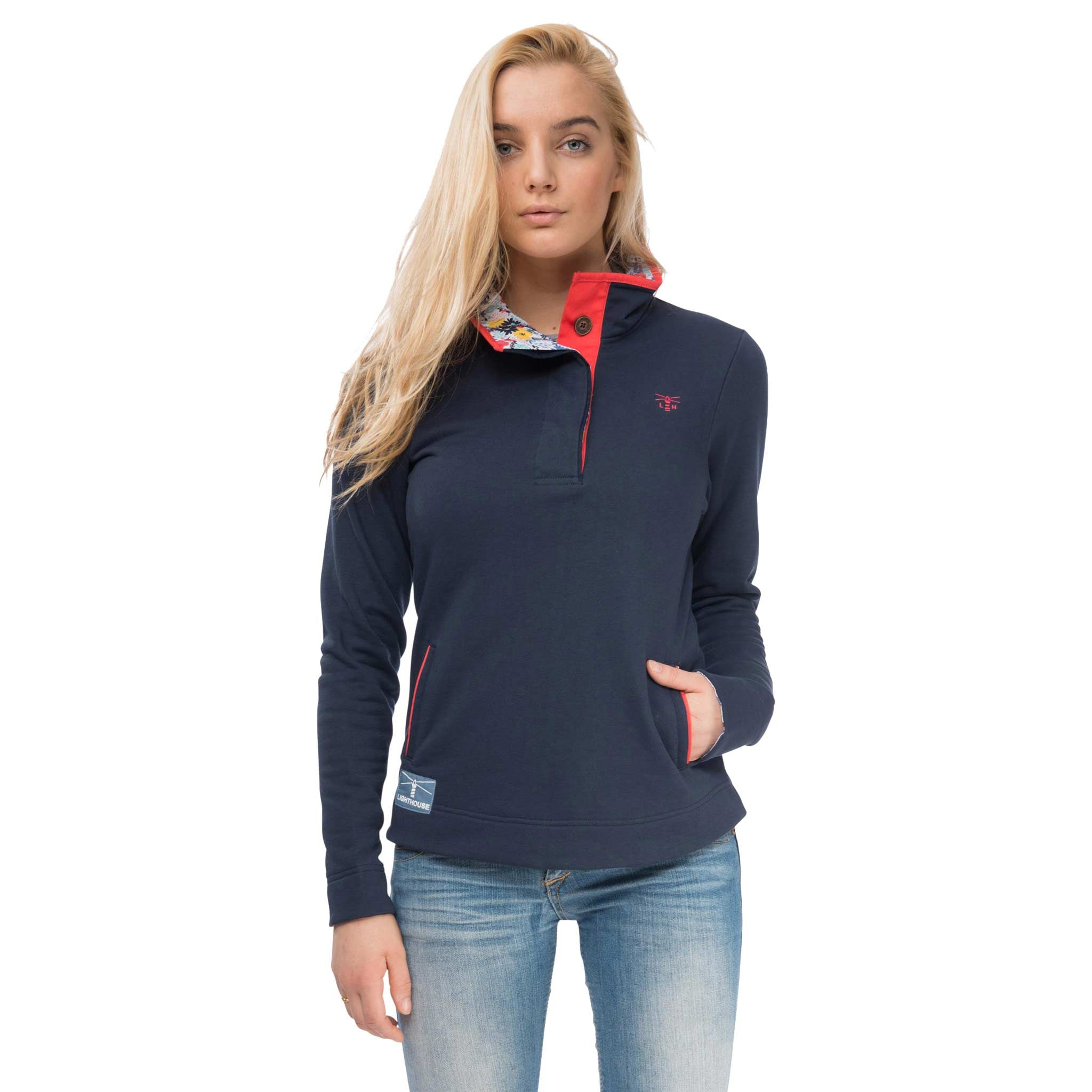 Coney Womens Half Button Sweatshirt in Night Sky, Modelled Front View | Lighthouse