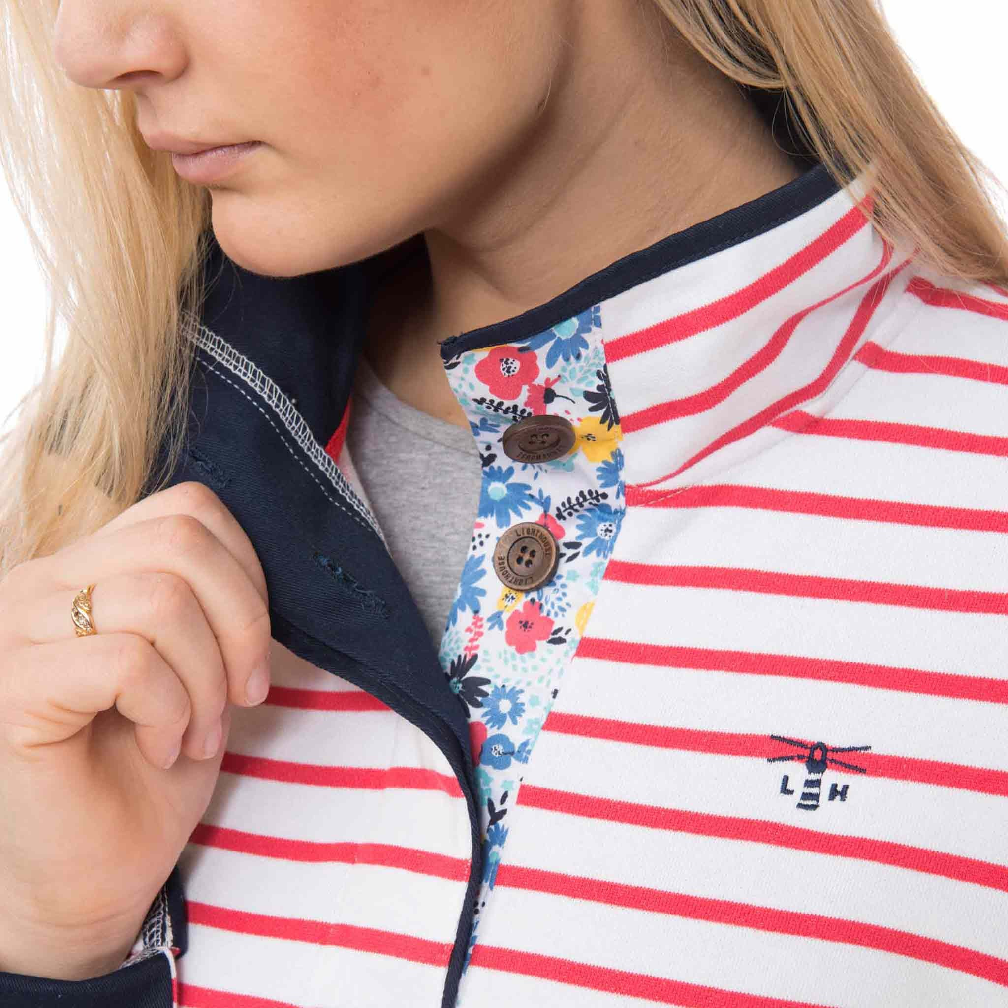 Coney Womens Half Button Sweatshirt in Night Sky, Modelled Detail View | Lighthouse