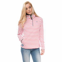 Coney Womens Half Button Sweatshirt in Watermelon Stripe, Modelled Front View | Lighthouse