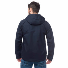 Lighthouse Mens Faroe Waterproof Jacket in Navy. Hood down. Rear view.