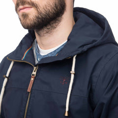 Lighthouse Mens Faroe Waterproof Jacket in Navy. Hood down. Detail shot.