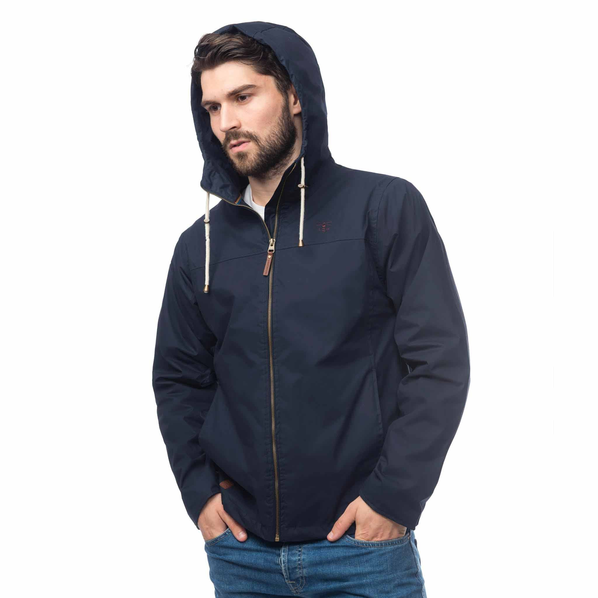 Lighthouse Mens Faroe Waterproof Jacket in Navy. Hood up. Zipped.