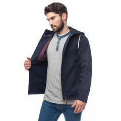 Lighthouse Mens Faroe Waterproof Jacket in Navy. Hood up. Upzipped showing internal pockets and detail.