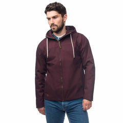 Lighthouse Mens Faroe Waterproof Jacket in Maroon. Hood down. Zipped.