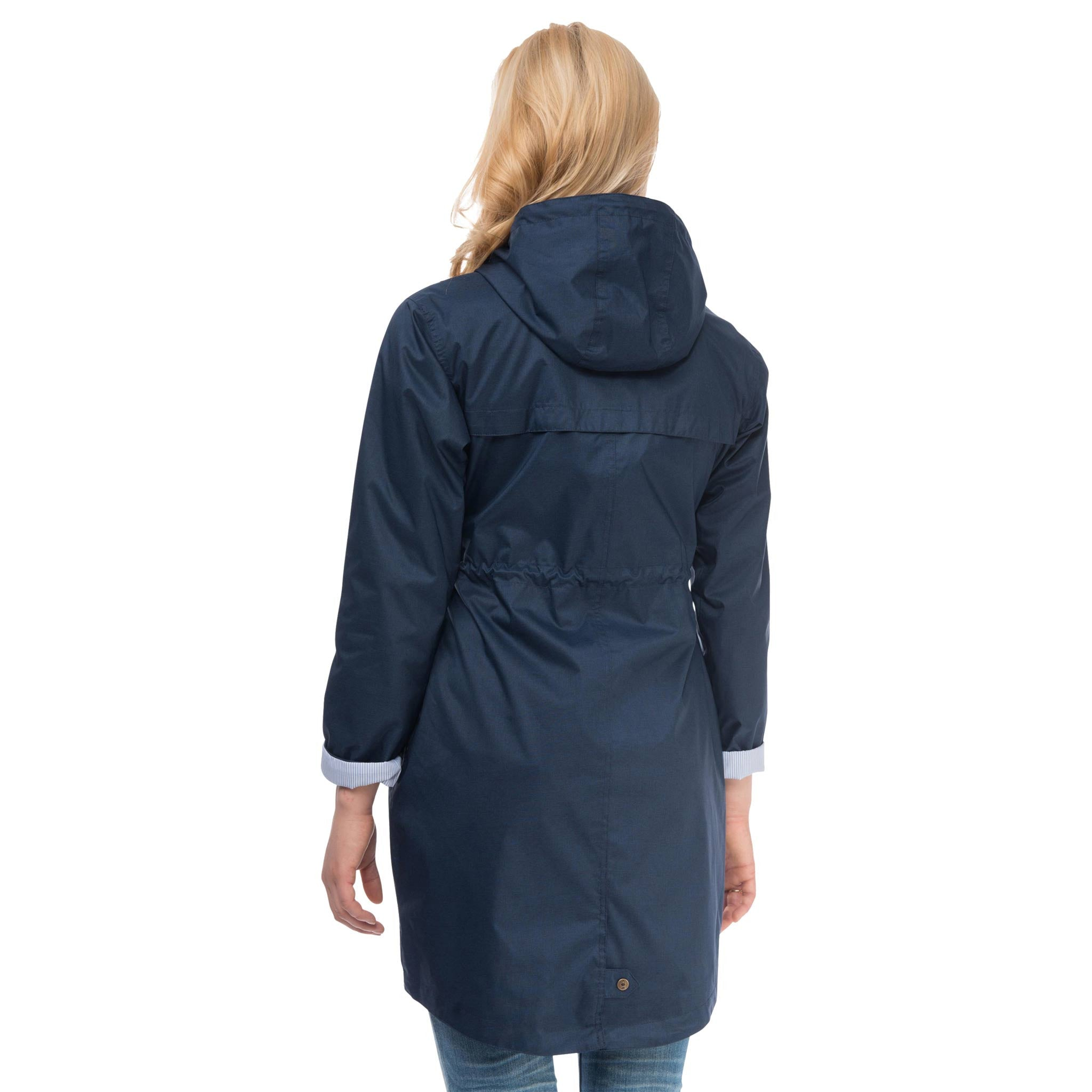 Fayda Womens Waterproof Parka in Night Sky Navy, Modelled Back View | Lighthouse