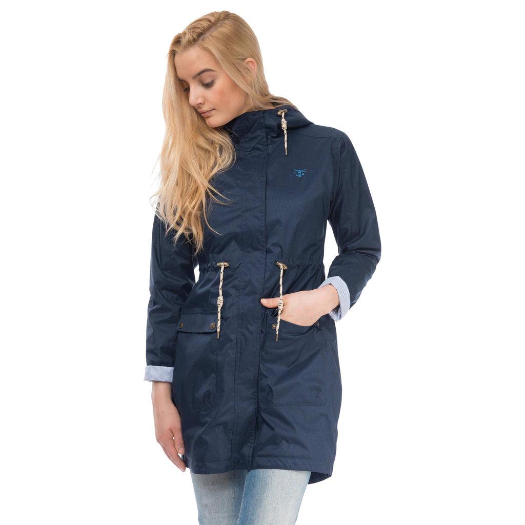 Fayda Womens Waterproof Parka in Night Sky Navy, Modelled Front View | Lighthouse