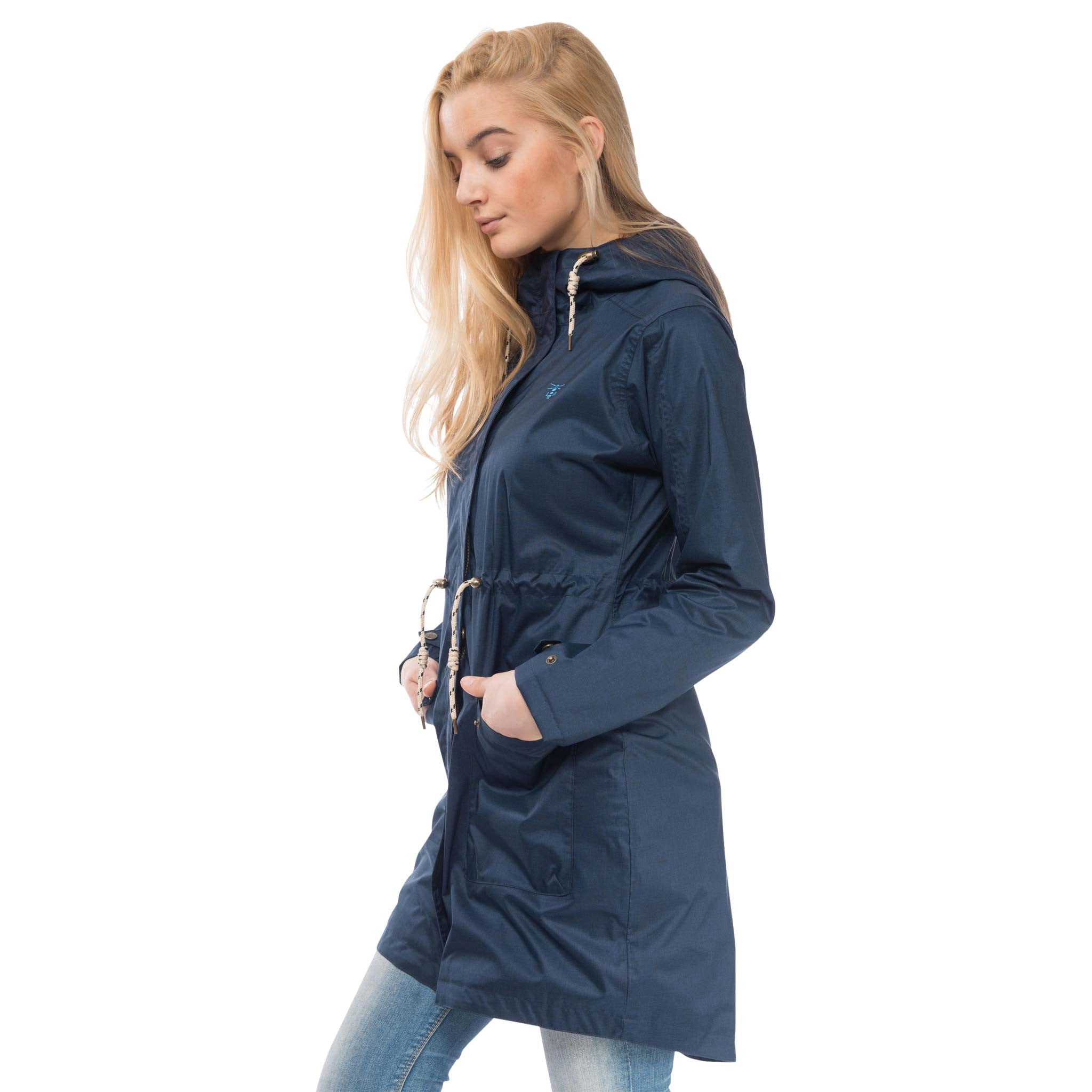 Fayda Womens Waterproof Parka in Night Sky Navy, Modelled Side View | Lighthouse