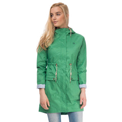 Fayda Womens Waterproof Parka in Seagrass Green, Modelled Front View | Lighthouse