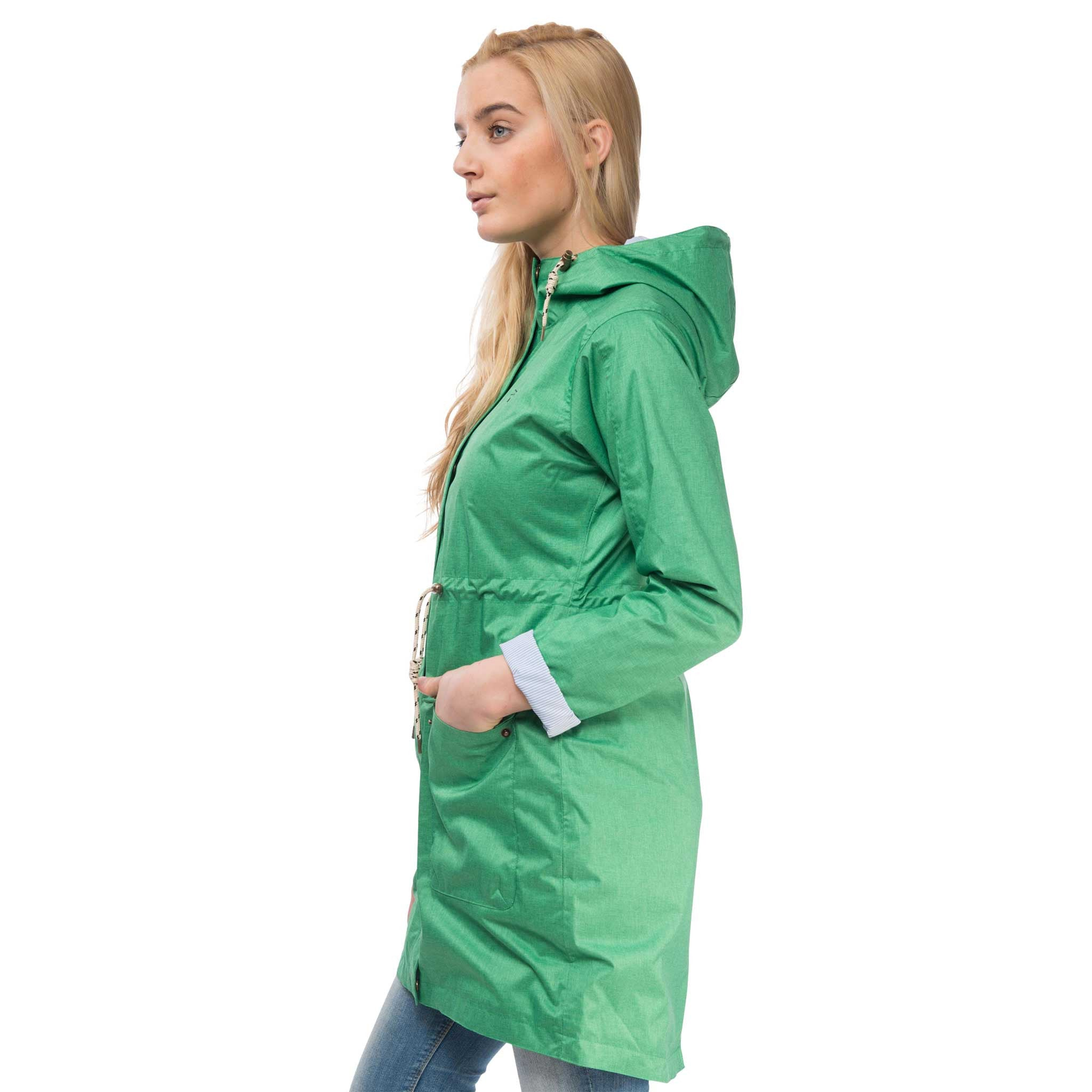 Fayda Womens Waterproof Parka in Seagrass Green, Modelled Side View | Lighthouse