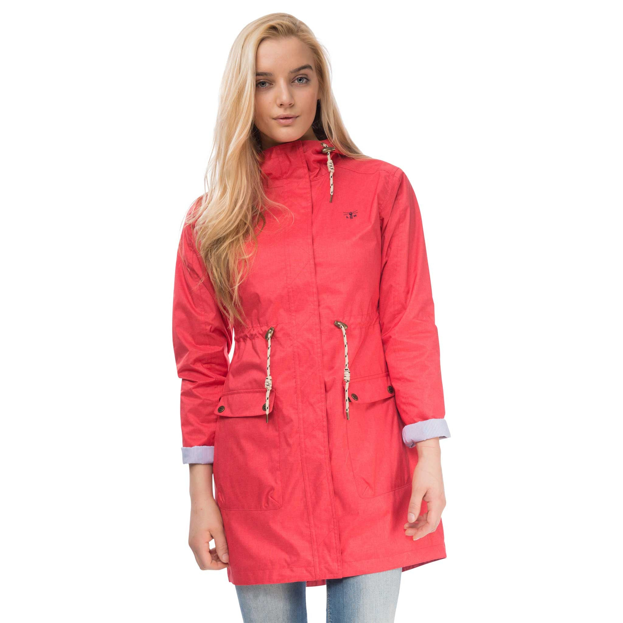 Fayda Womens Waterproof Parka in Watermelon Red with Cuffs Up, Modelled Front View | Lighthouse