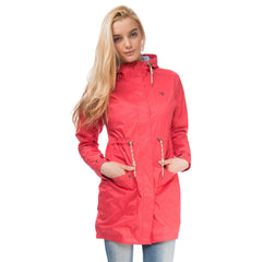 Fayda Womens Waterproof Parka in Watermelon Red, Modelled Front View | Lighthouse