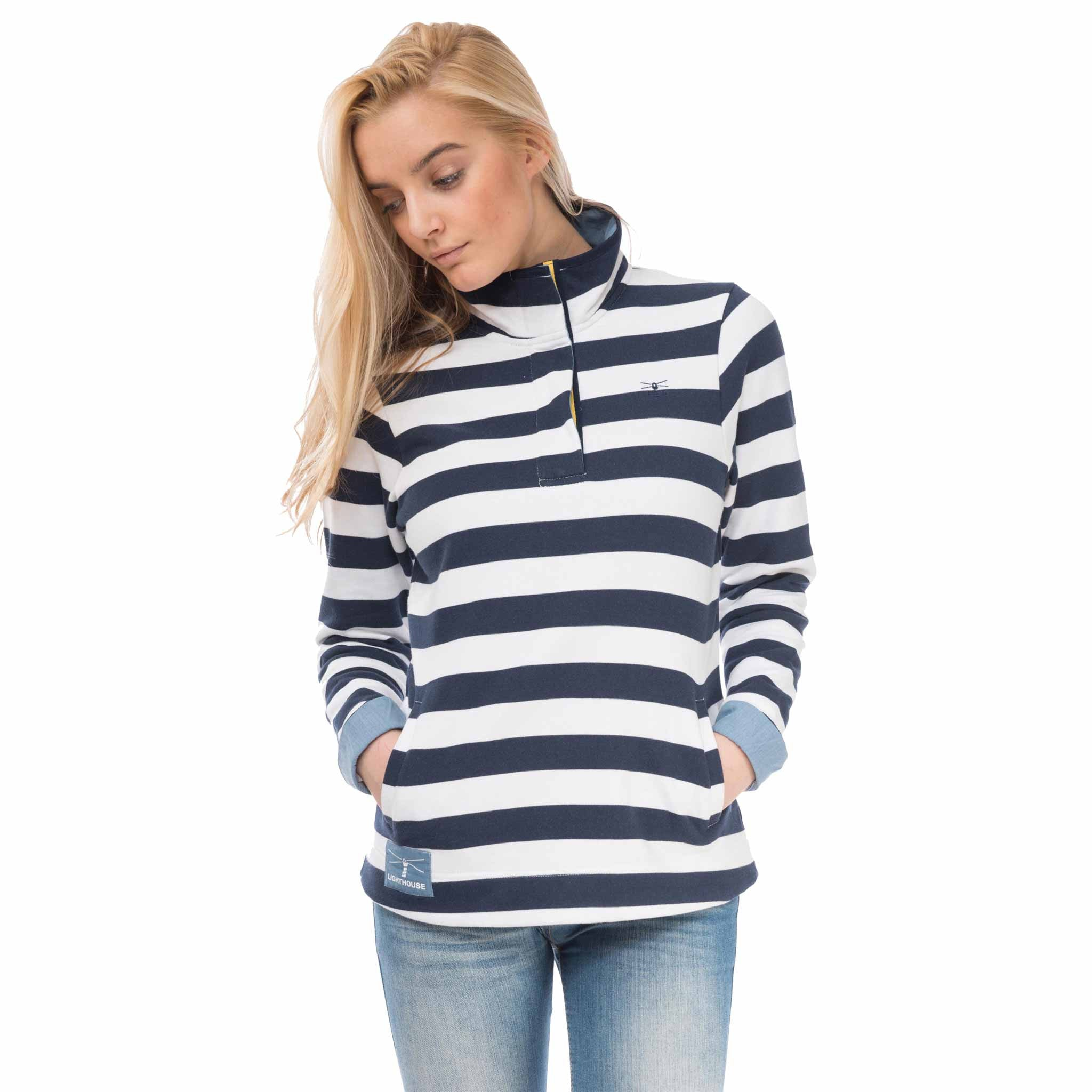 Haven Womens Half Zip Sweatshirt in Night Sky Stripe, Modelled Front View | Lighthouse