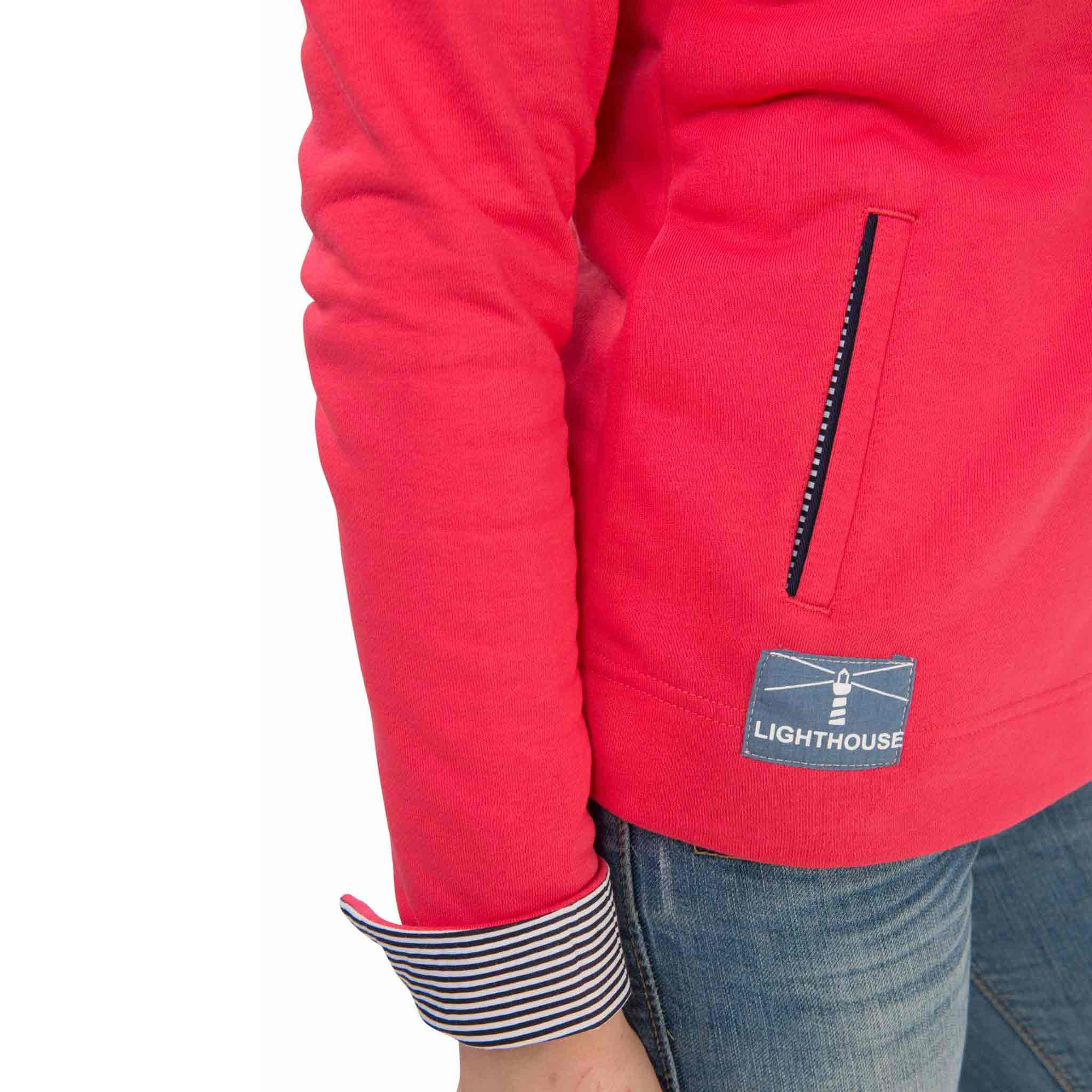 Haven Womens Half Zip Sweatshirt in Watermelon Red, Modelled Cuff View | Lighthouse