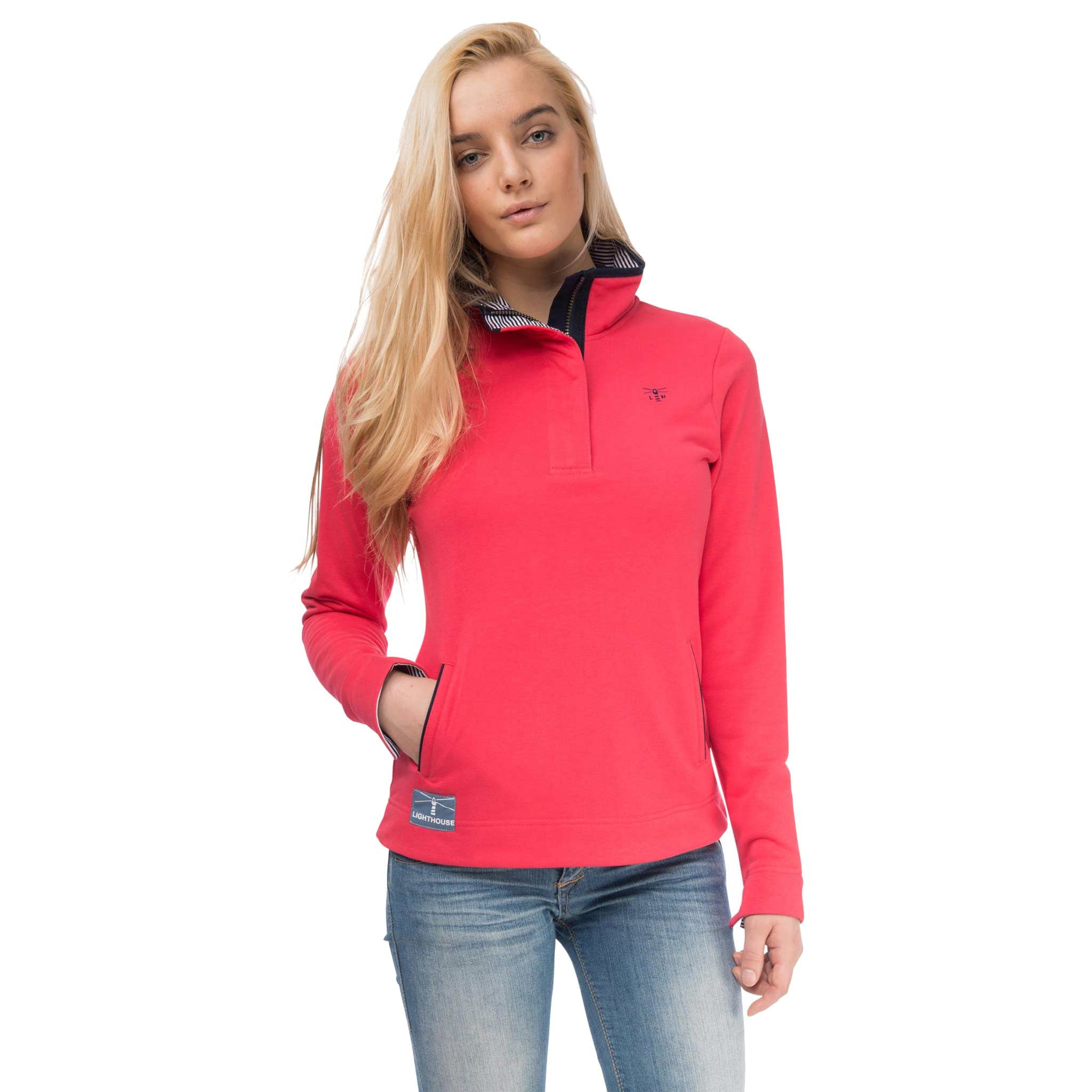 Haven Womens Half Zip Sweatshirt in Watermelon Red, Modelled Front View | Lighthouse