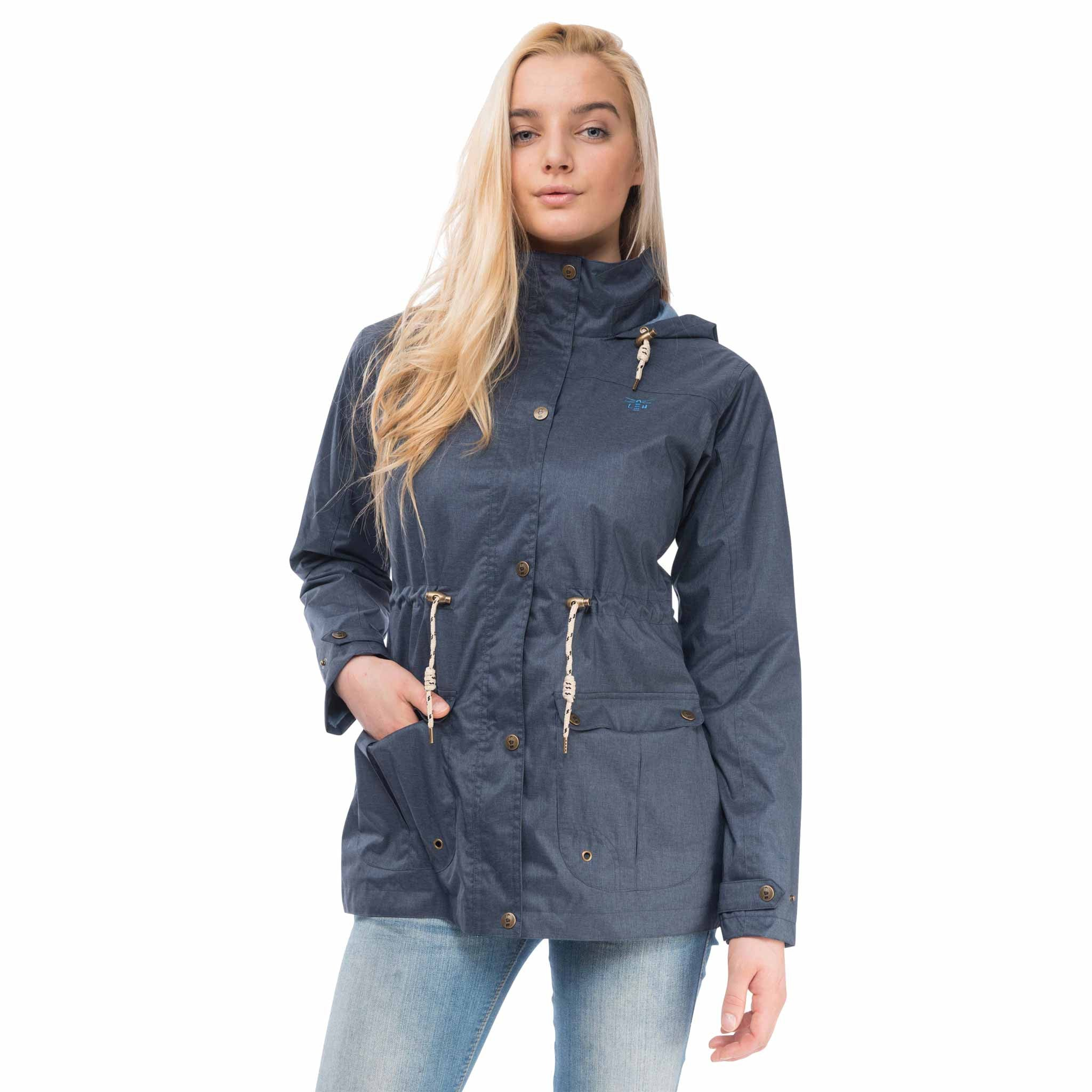 Isla Womens Waterproof Jacket in French Navy, Modelled Front View | Lighthouse