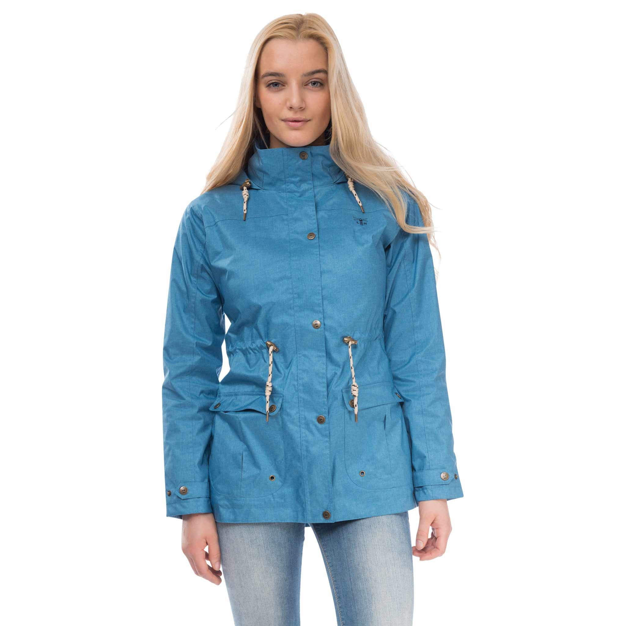 Isla Womens Waterproof Jacket in Marine Navy, Modelled Front View | Lighthouse
