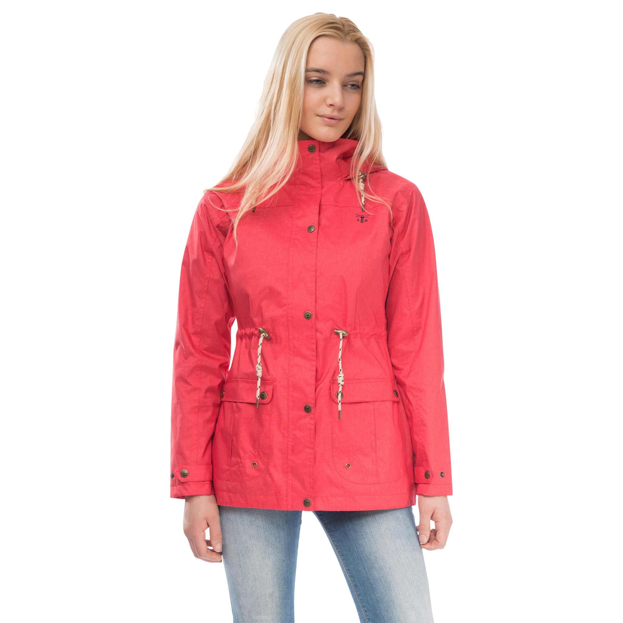 Isla Womens Waterproof Jacket in Watermelon Red, Modelled Front View | Lighthouse