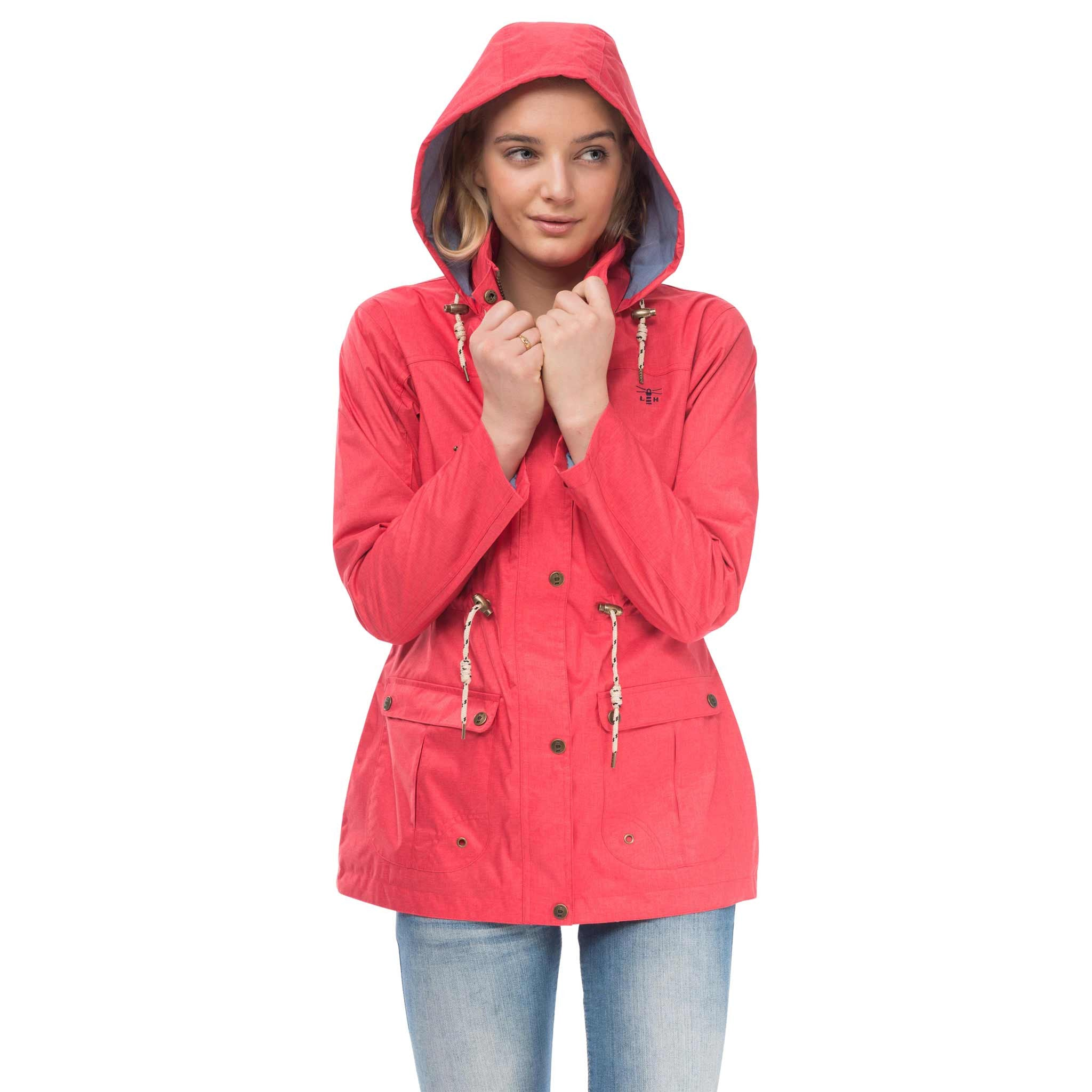 Isla Womens Waterproof Jacket in Watermelon Red, Hood Up, Modelled Front View | Lighthouse