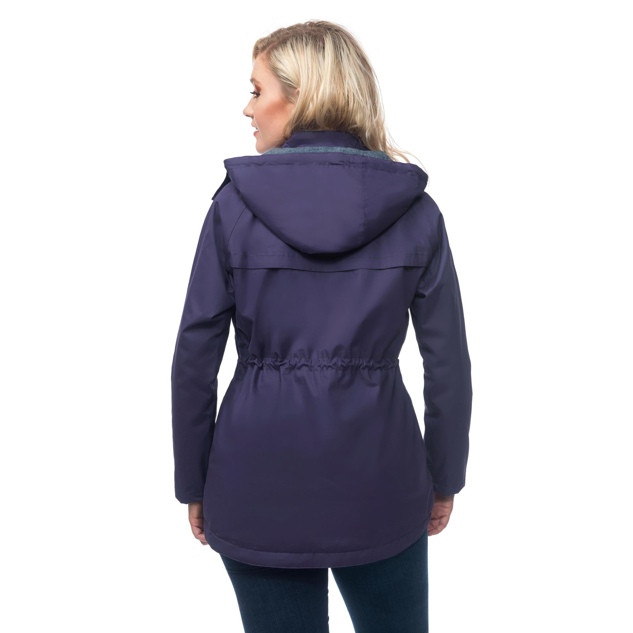 Lighthouse Lana Womens Waterproof Hooded Raincoat in Purple. Back view showing adjustable waist drawcord.