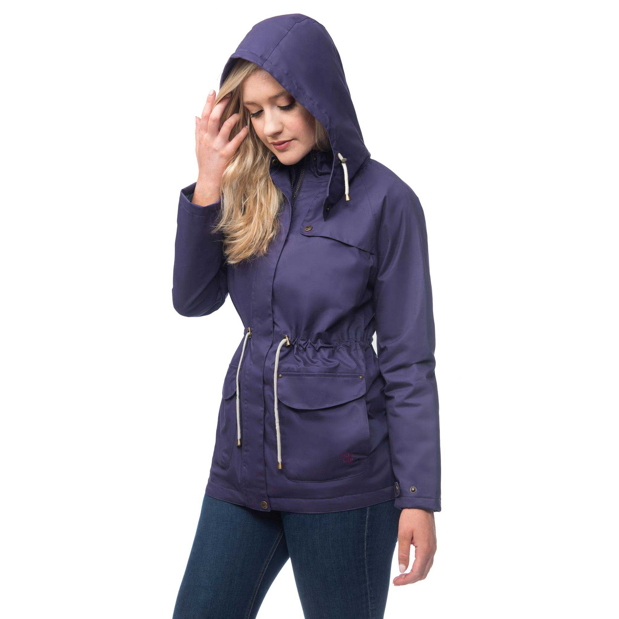 Lighthouse Lana Womens Waterproof Hooded Raincoat in Purple. Zipped and buttoned. Hood up.