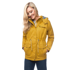 Lighthouse Womens Lana Waterproof Hooded Raincoat in Yellow. Zipped & Buttoned.  Hood down.