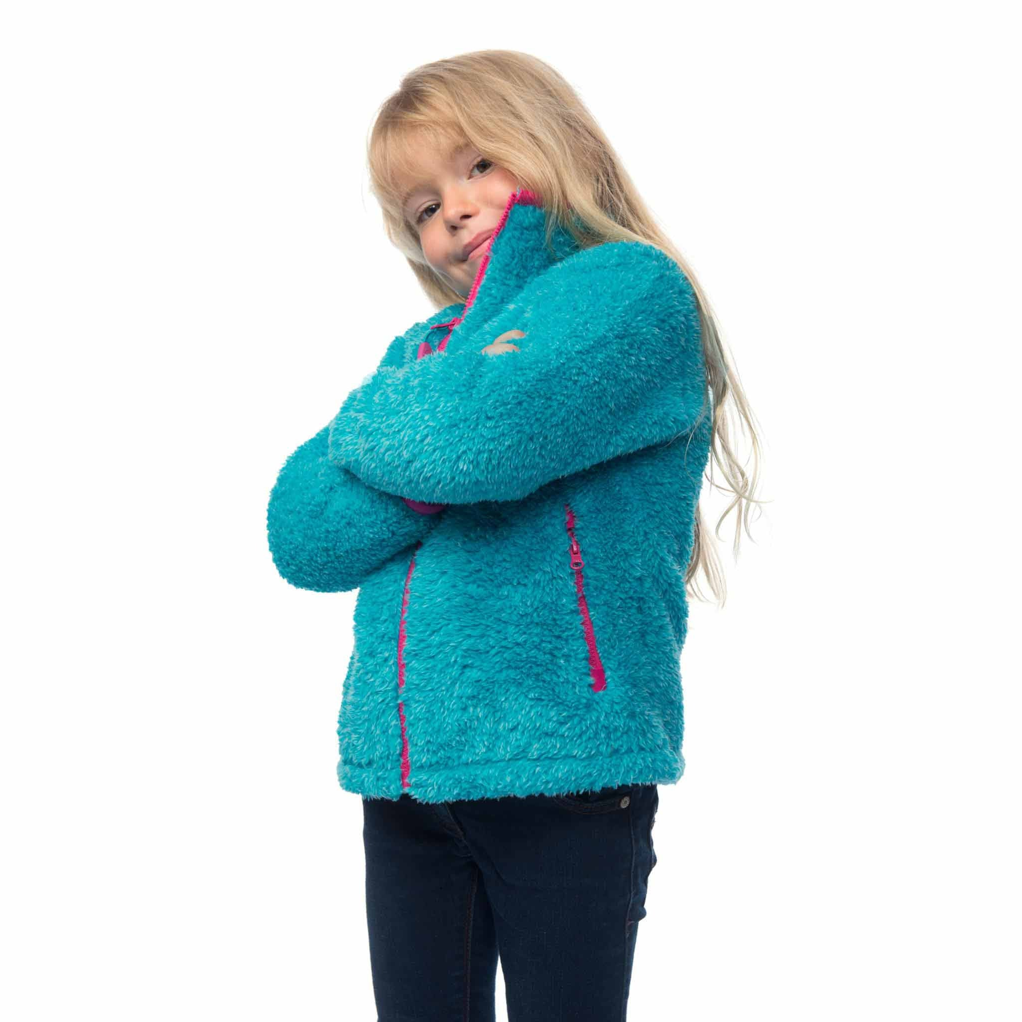 Lighthouse Girls' Lottie Full Zip Sherpa Fleece in Turqoise Blue. Fully zipped.