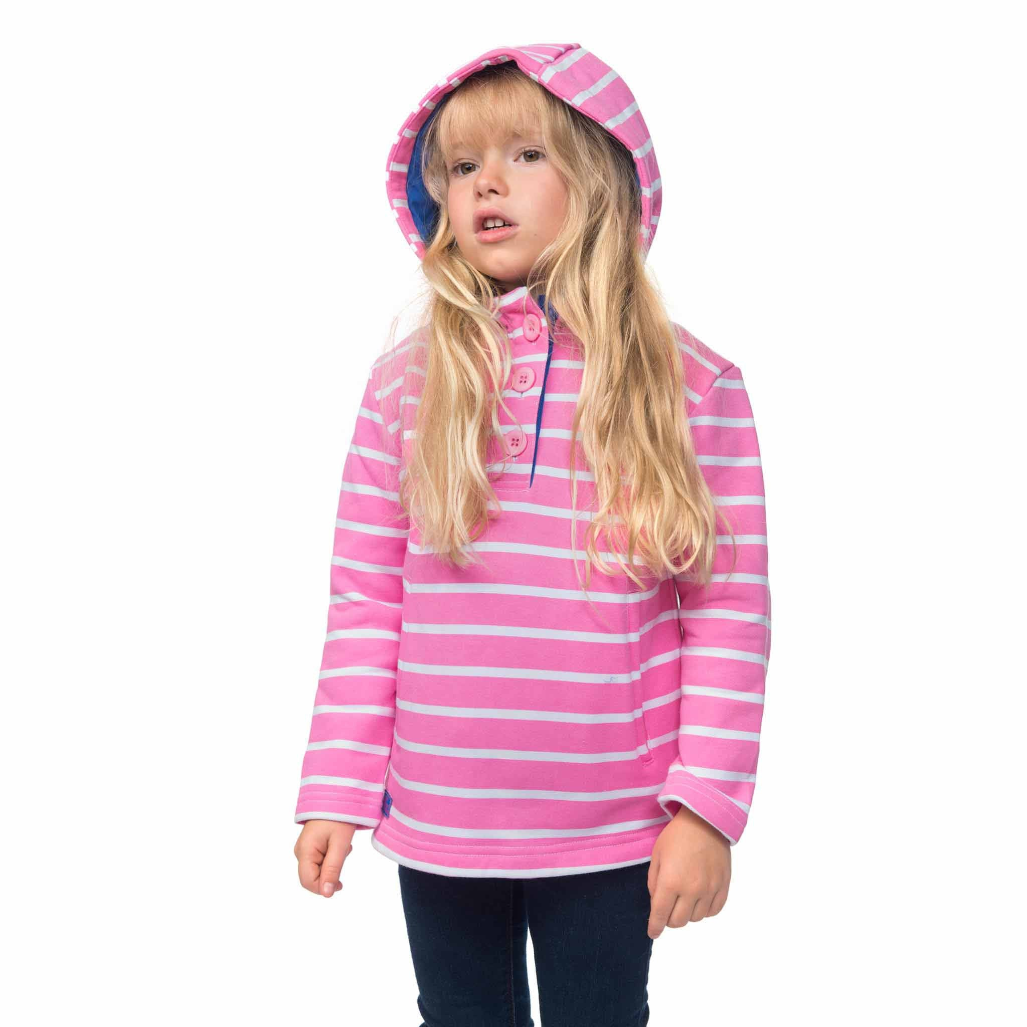 Lighthouse Girls' Maddy Cotton Jersey Sweatshirt in Pink and White Stripe. Half Buttoned. Hood up.