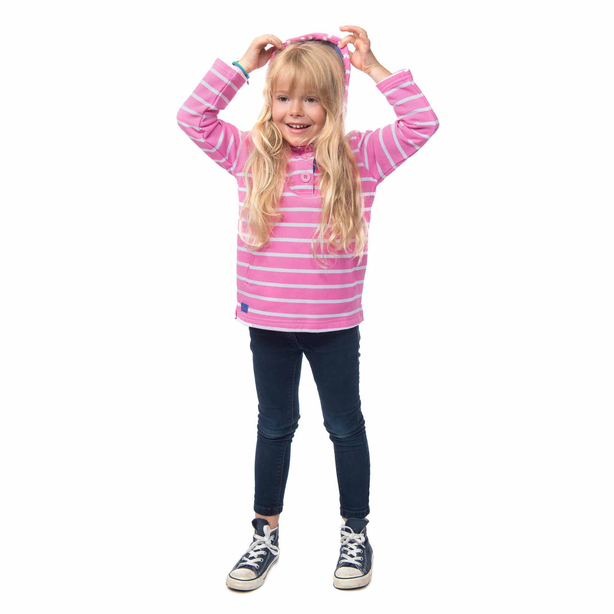 Lighthouse Girls' Maddy Cotton Jersey Sweatshirt in Pink and White Stripe. Half Buttoned. Hands in side pockets.