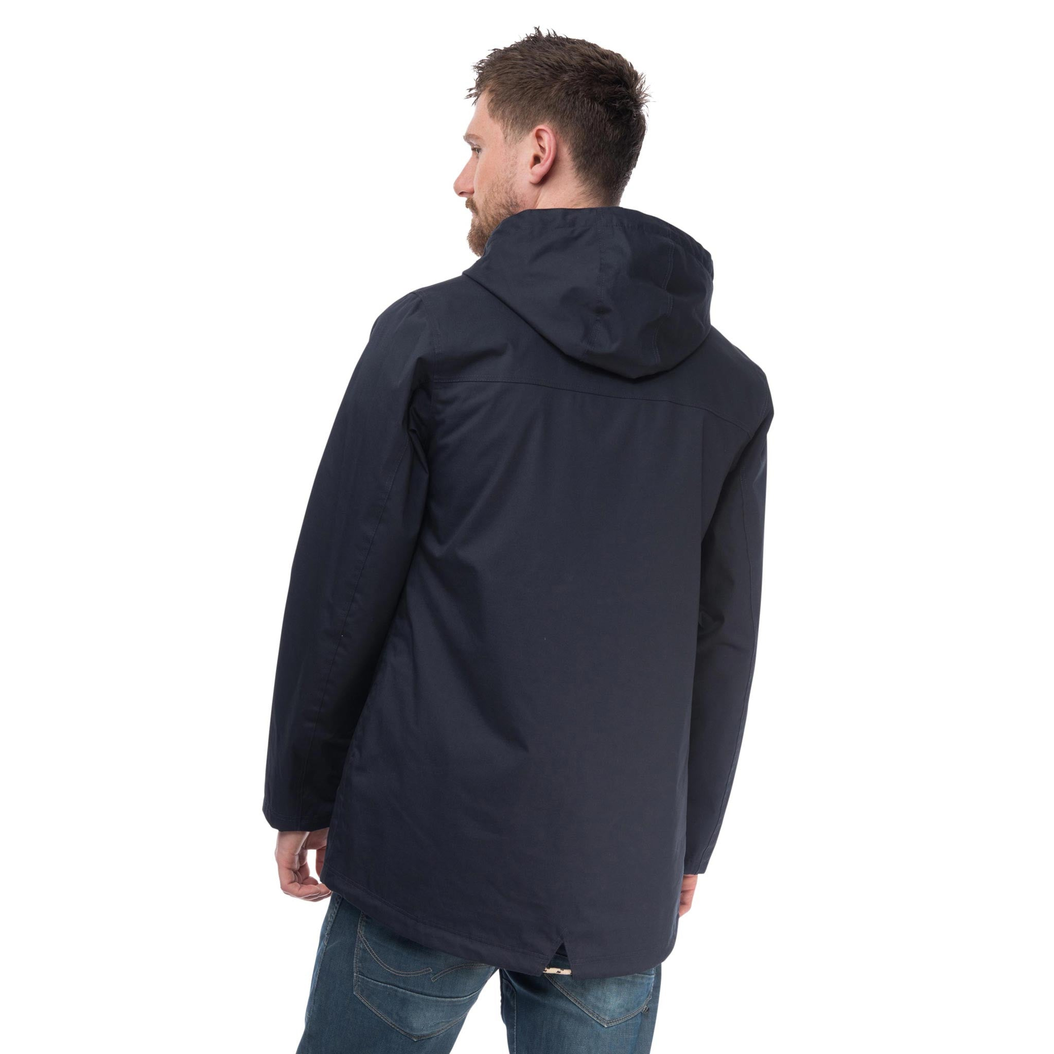 Navigator Mens Waterproof Parka with Cotton Outer, in Ink Navy, Modelled Back View | Lighthouse