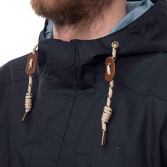 Navigator Mens Waterproof Parka with Cotton Outer, in Ink Navy, Modelled Detail View | Lighthouse