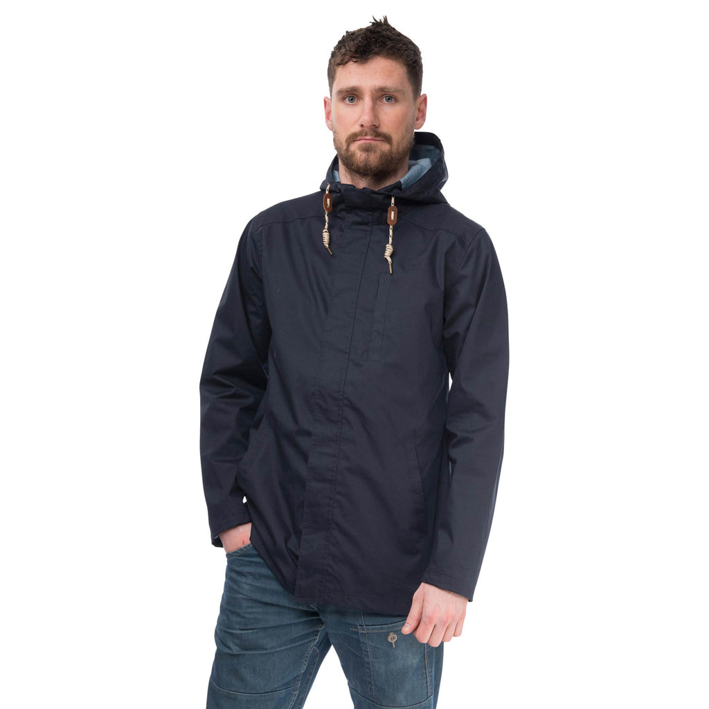 Navigator Mens Waterproof Parka with Cotton Outer, in Ink Navy, Modelled Front View | Lighthouse