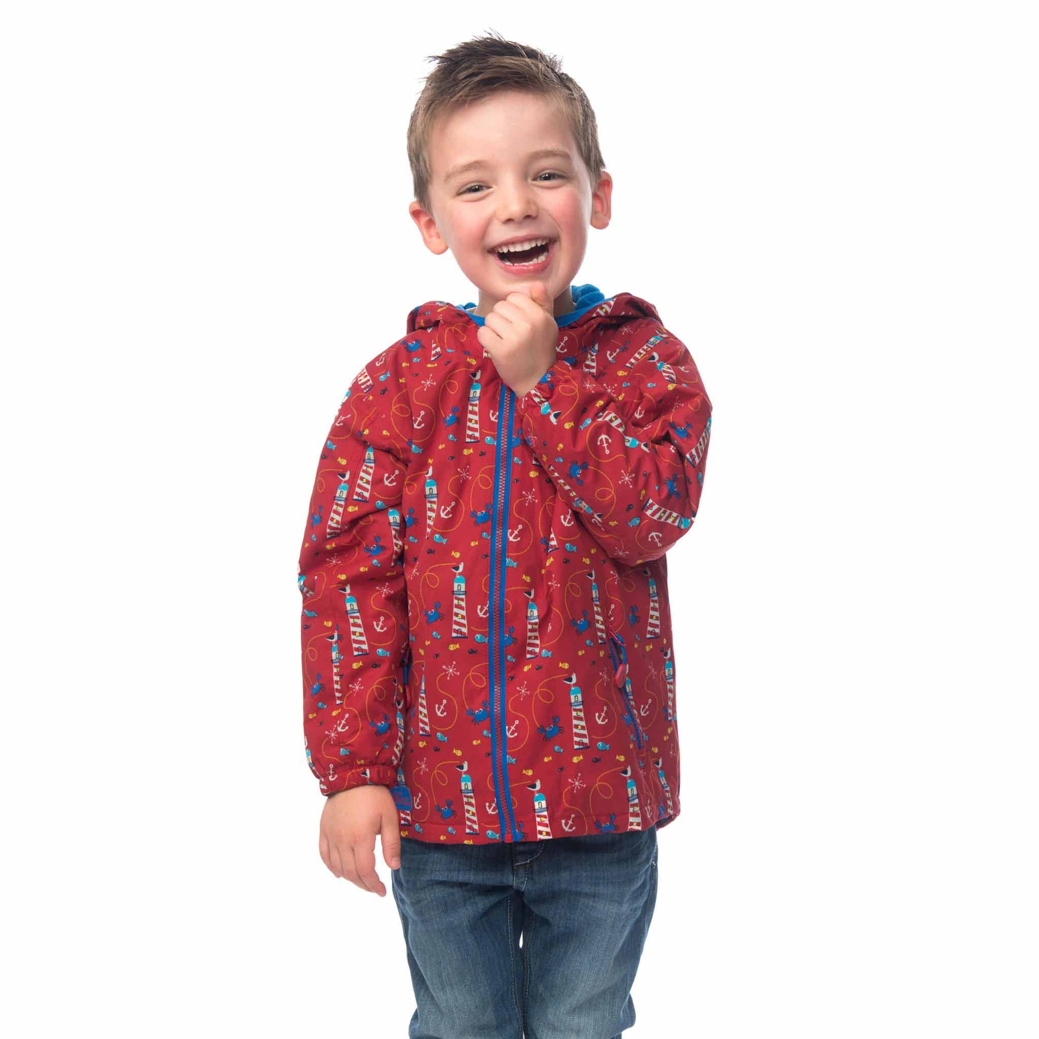 Lighthouse Boys' Ollie Fleece Lined Waterproof Hooded Raincoat in Red with Lighthouse Print. Fully Zipped.