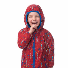 Lighthouse Boys' Ollie Fleece Lined Waterproof Hooded Raincoat in Red with Lighthouse Print. Fully Zipped. Hood Up.