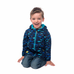Lighthouse Boys' Ollie Fleece Lined Waterproof Hooded Raincoat in Navy with Shark Print. Fully Zipped. Hood Down.