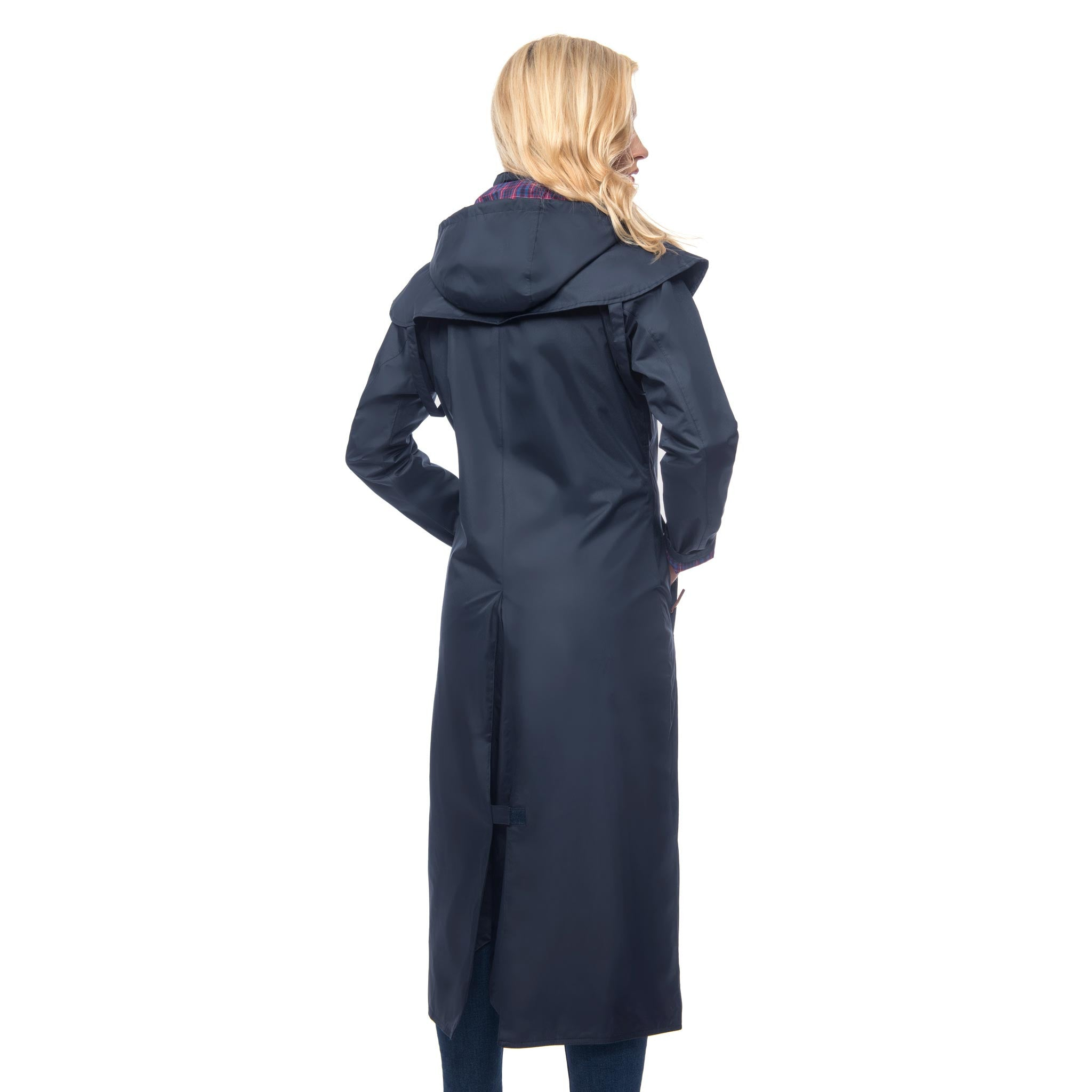 Lighthouse Womens Outback Full Length Waterproof Raincoat in Navy. Zipped and buttoned. Rear view showing back vent.