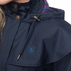 Lighthouse Womens Outback Full Length Waterproof Raincoat in Navy. Zipped and buttoned. Detail shot.