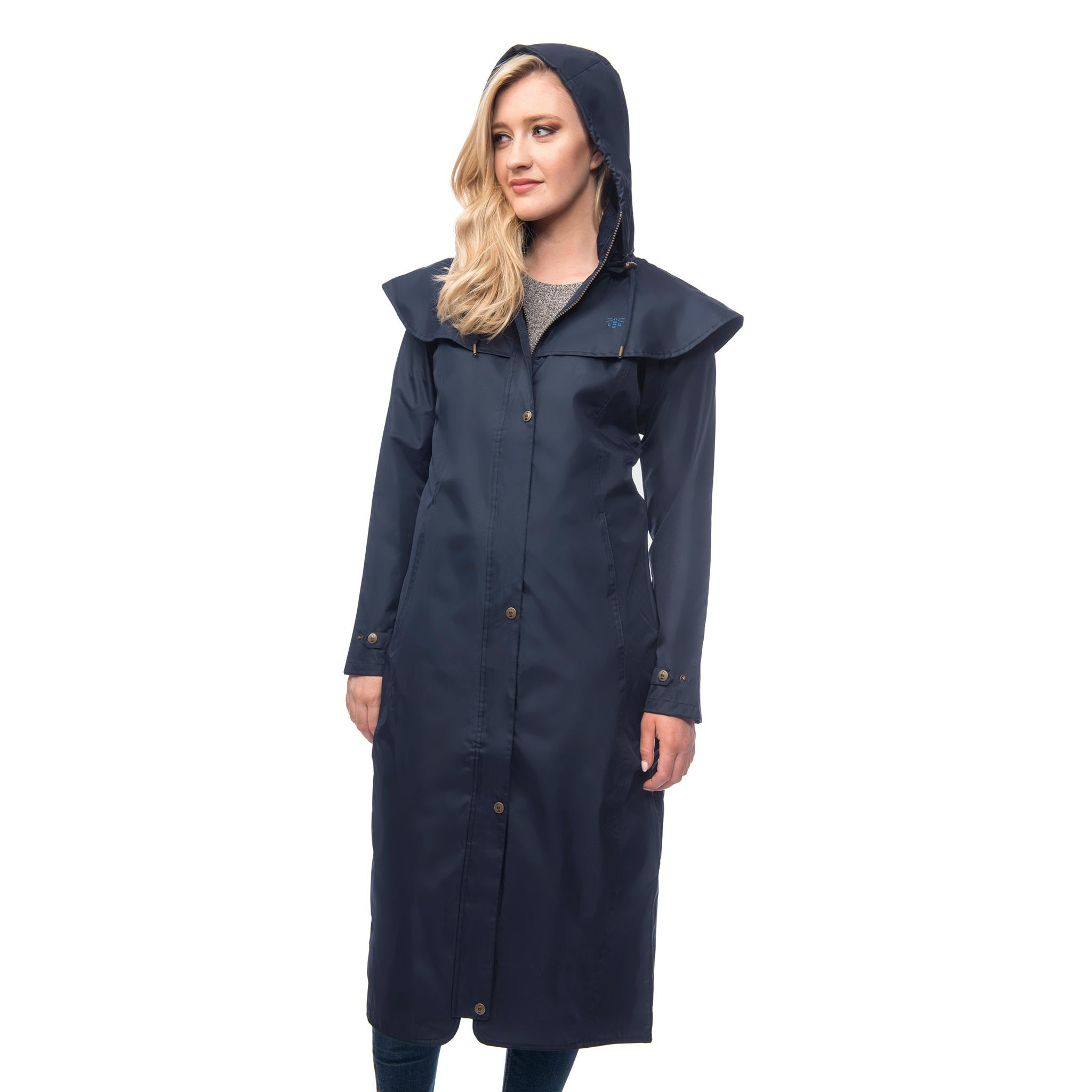 Lighthouse Womens Outback Full Length Waterproof Raincoat in Navy. Zipped and buttoned. Hood up.