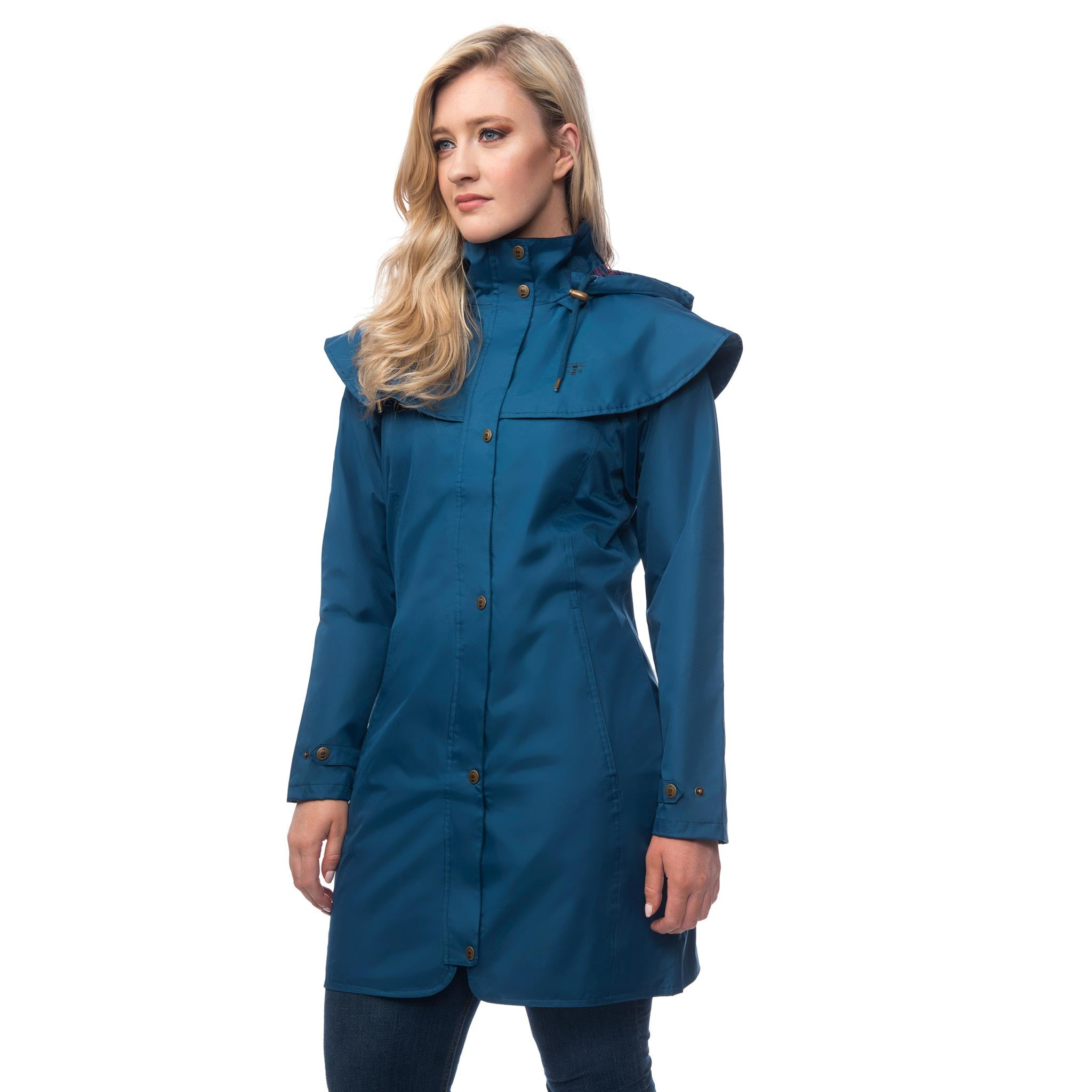 Lighthouse Womens Outrider 3/4 Length Waterproof Raincoat in Blue. Zipped & Buttoned.