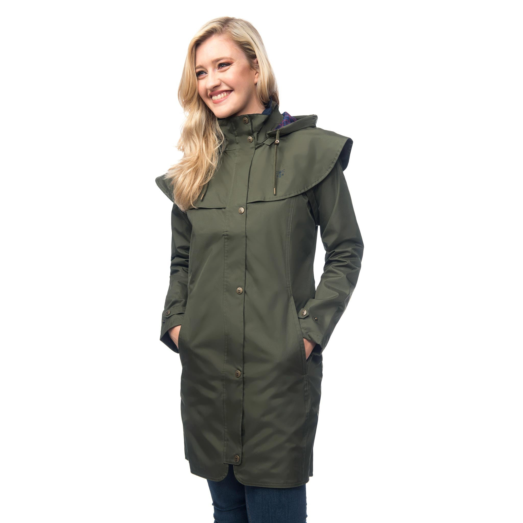 Lighthouse Womens Outrider 3/4 Length Waterproof Raincoat in Green. Zipped & Buttoned.