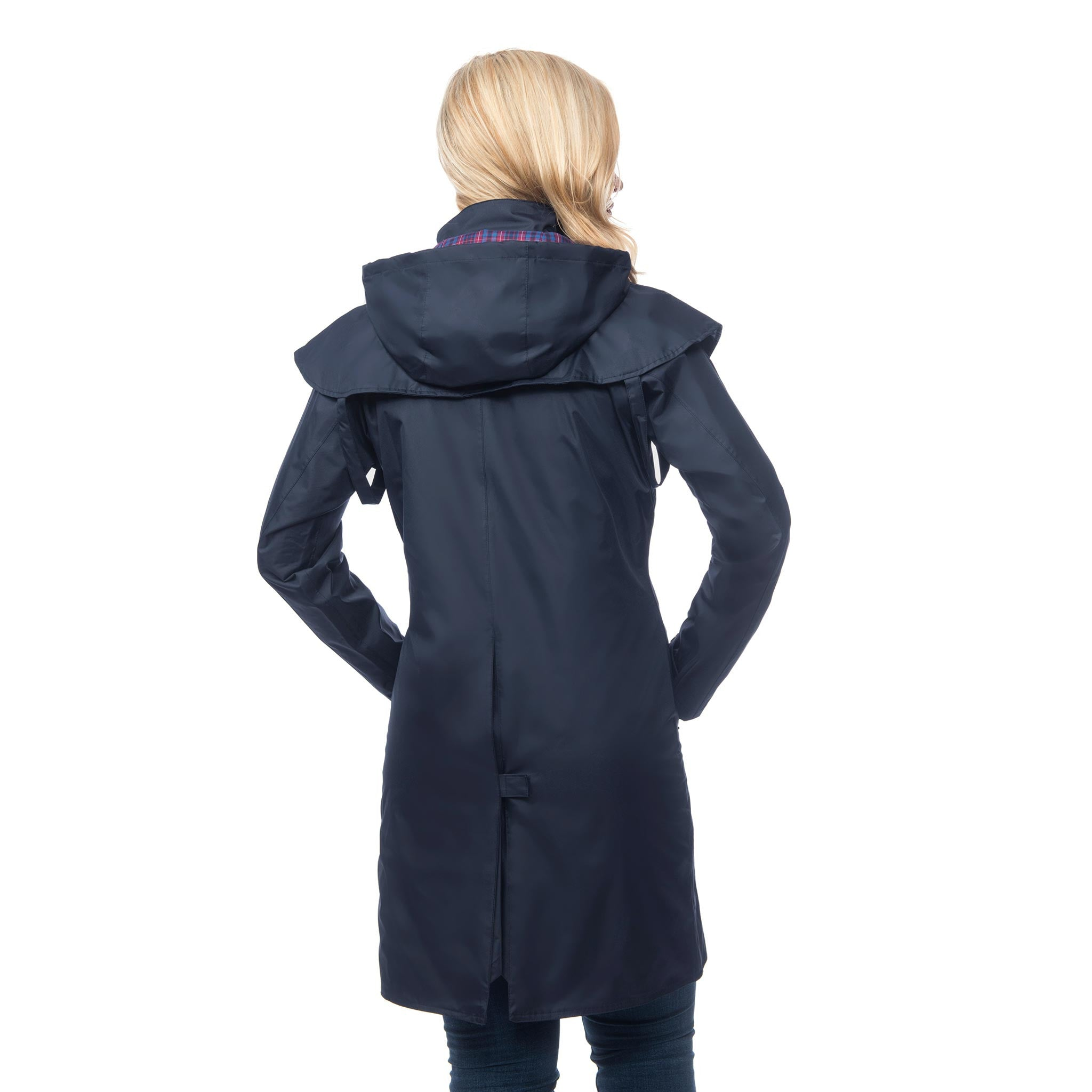 Lighthouse Womens Outrider 3/4 Length Waterproof Raincoat in Navy. Zipped & Buttoned. Rear view showing back vent.