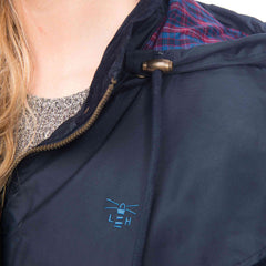Lighthouse Womens Outrider 3/4 Length Waterproof Raincoat in Navy. Detail shot.