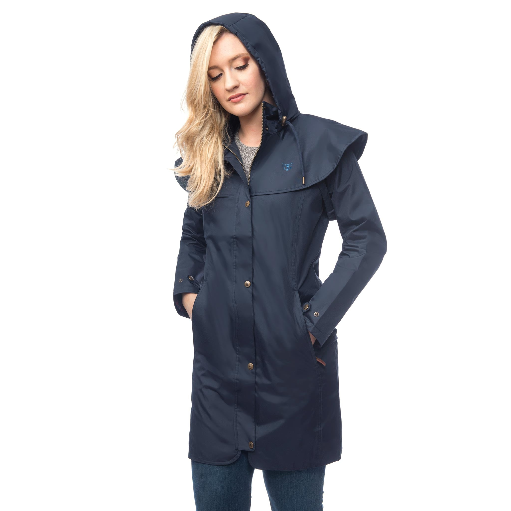 Lighthouse Womens Outrider 3/4 Length Waterproof Raincoat in Navy. Zipped & Buttoned. Hood up.