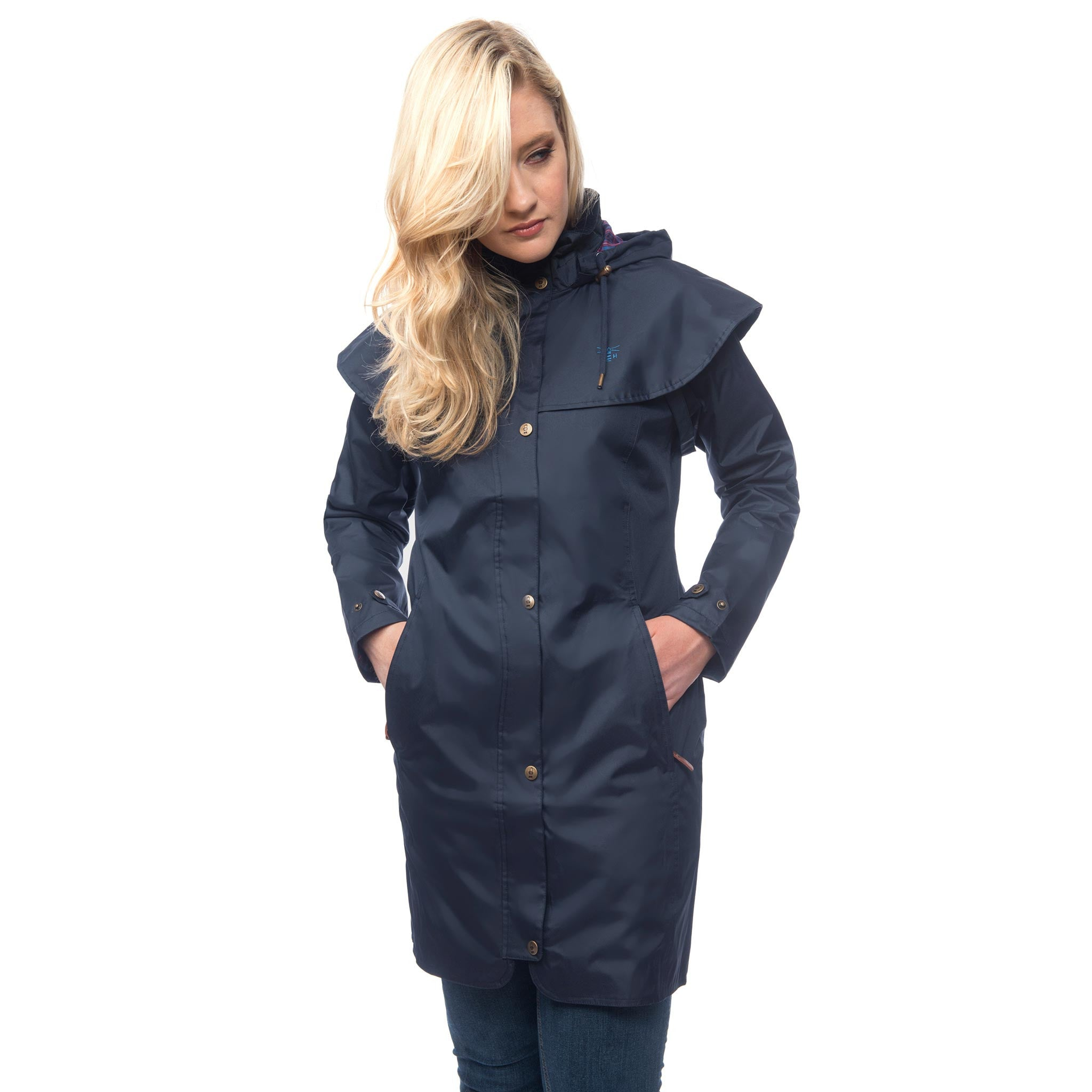 Lighthouse Womens Outrider 3/4 Length Waterproof Raincoat in Navy. Zipped & Buttoned.