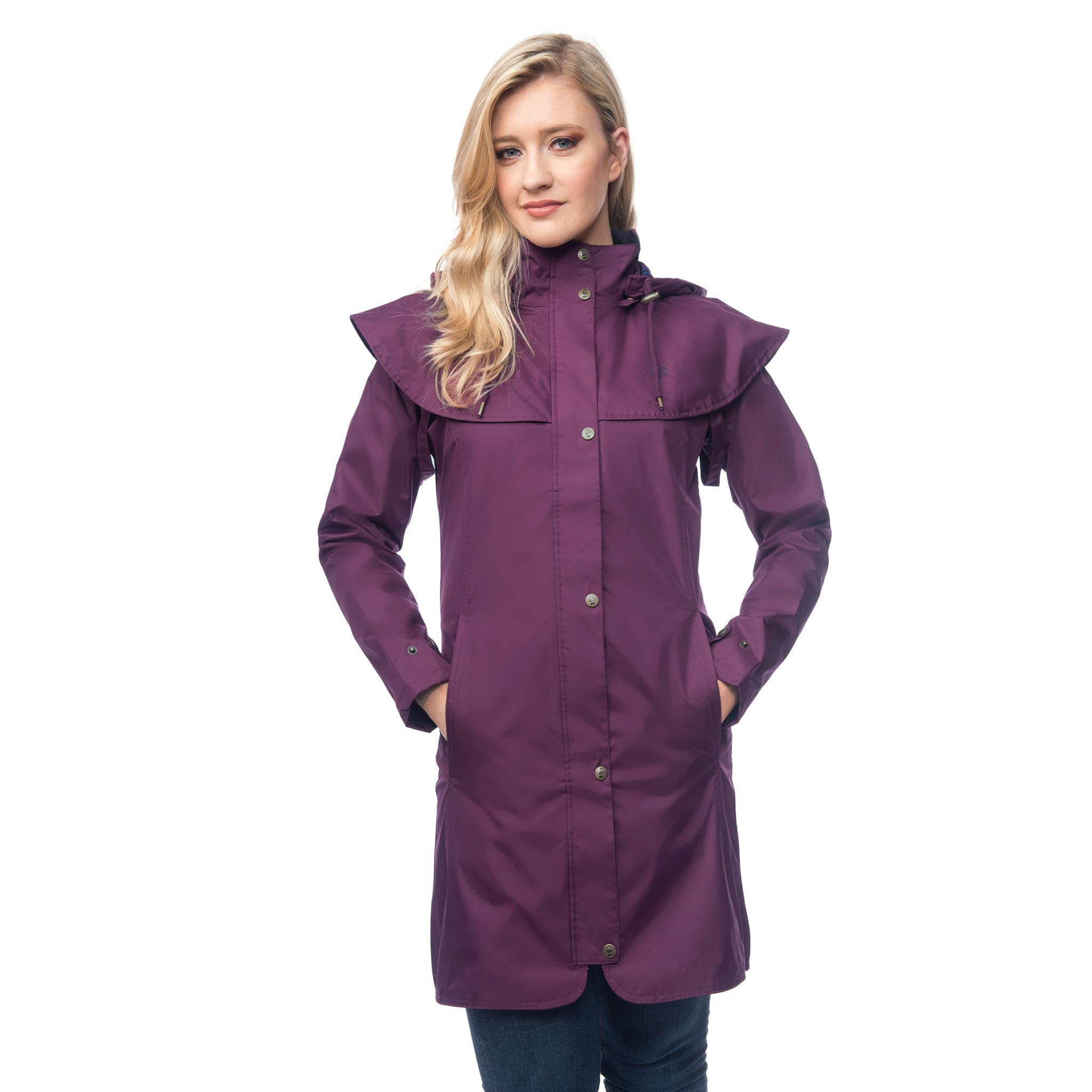 Lighthouse Womens Outrider 3/4 Length Waterproof Raincoat in Purple. Zipped & Buttoned. Hands in pockets.