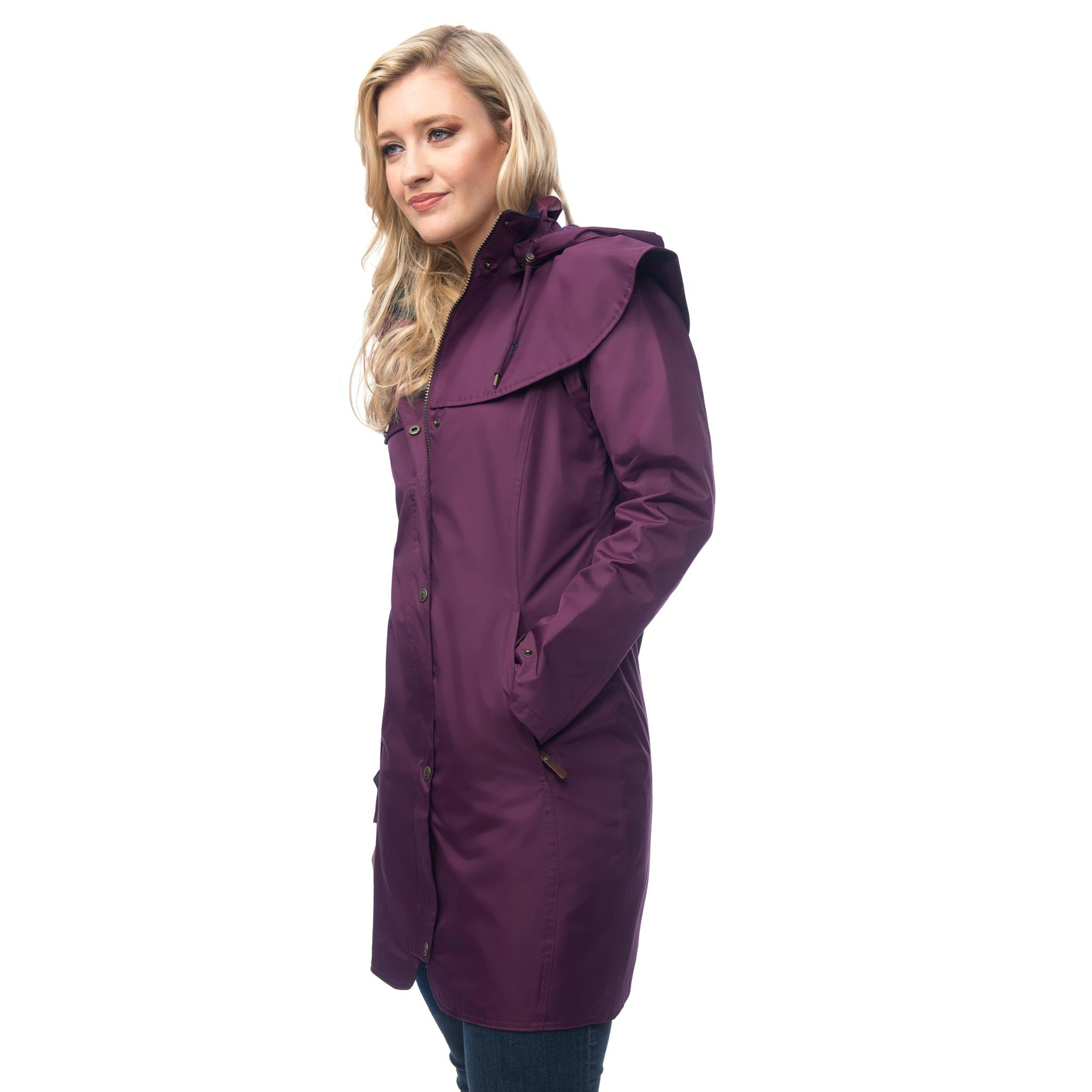 Lighthouse Womens Outrider 3/4 Length Waterproof Raincoat in Purple. Zipped & Buttoned.