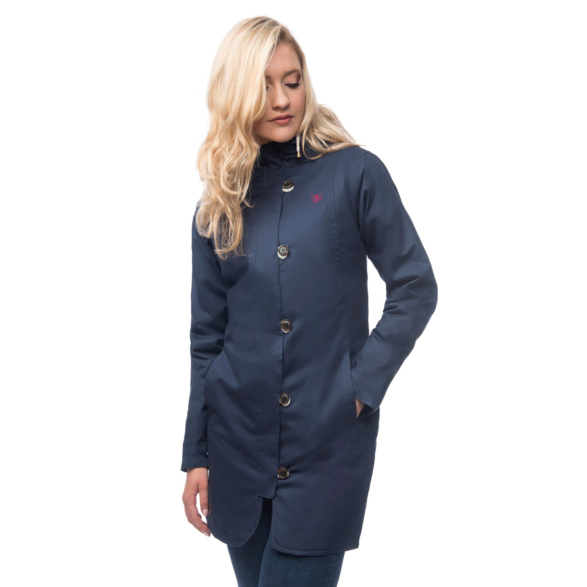 Lighthouse Womens Reva Waterproof Hooded Parka Raincoat in Navy Nightshade. Coat zipped & buttoned.