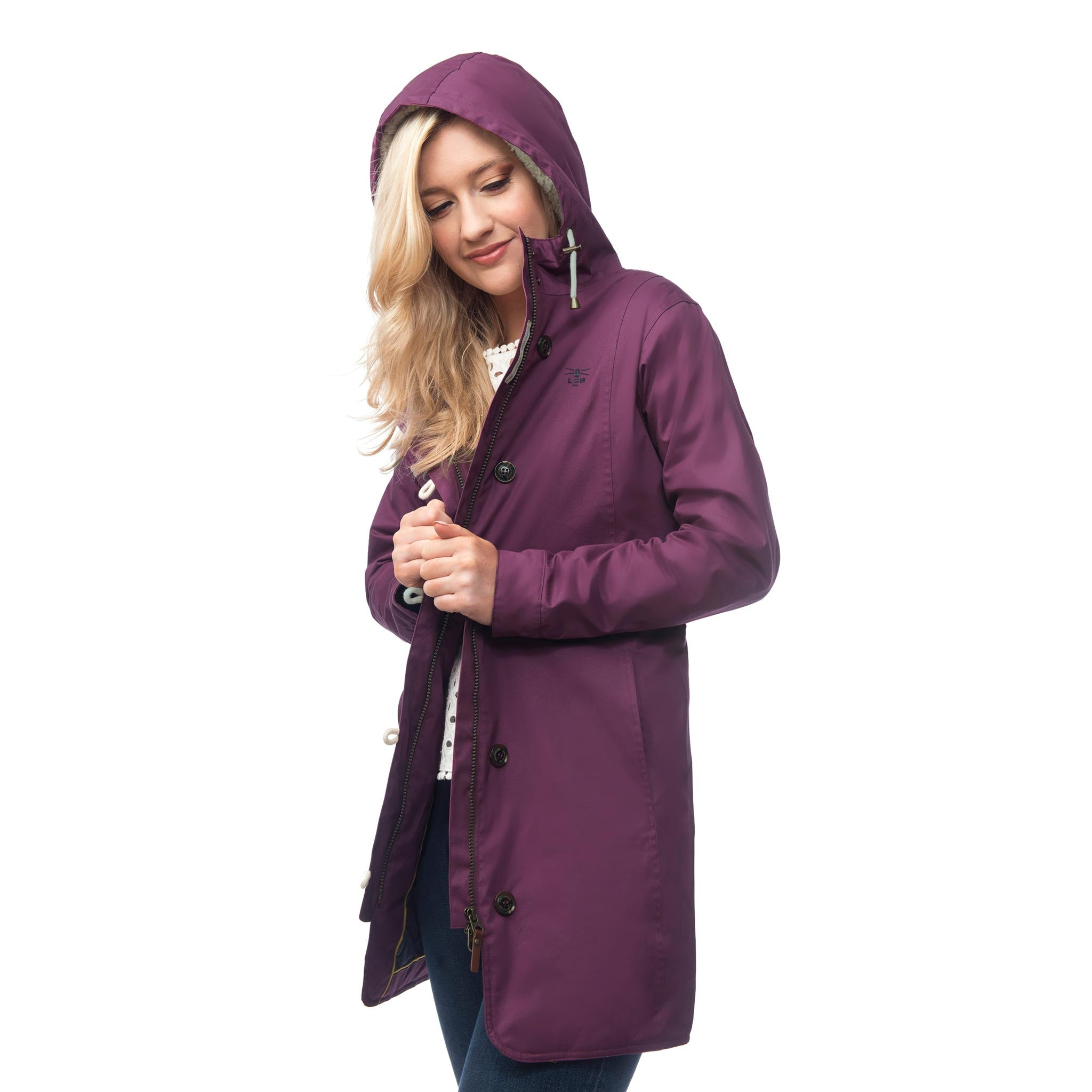 Lighthouse Womens Reva Waterproof Hooded Parka Raincoat in Plum. Coat open.