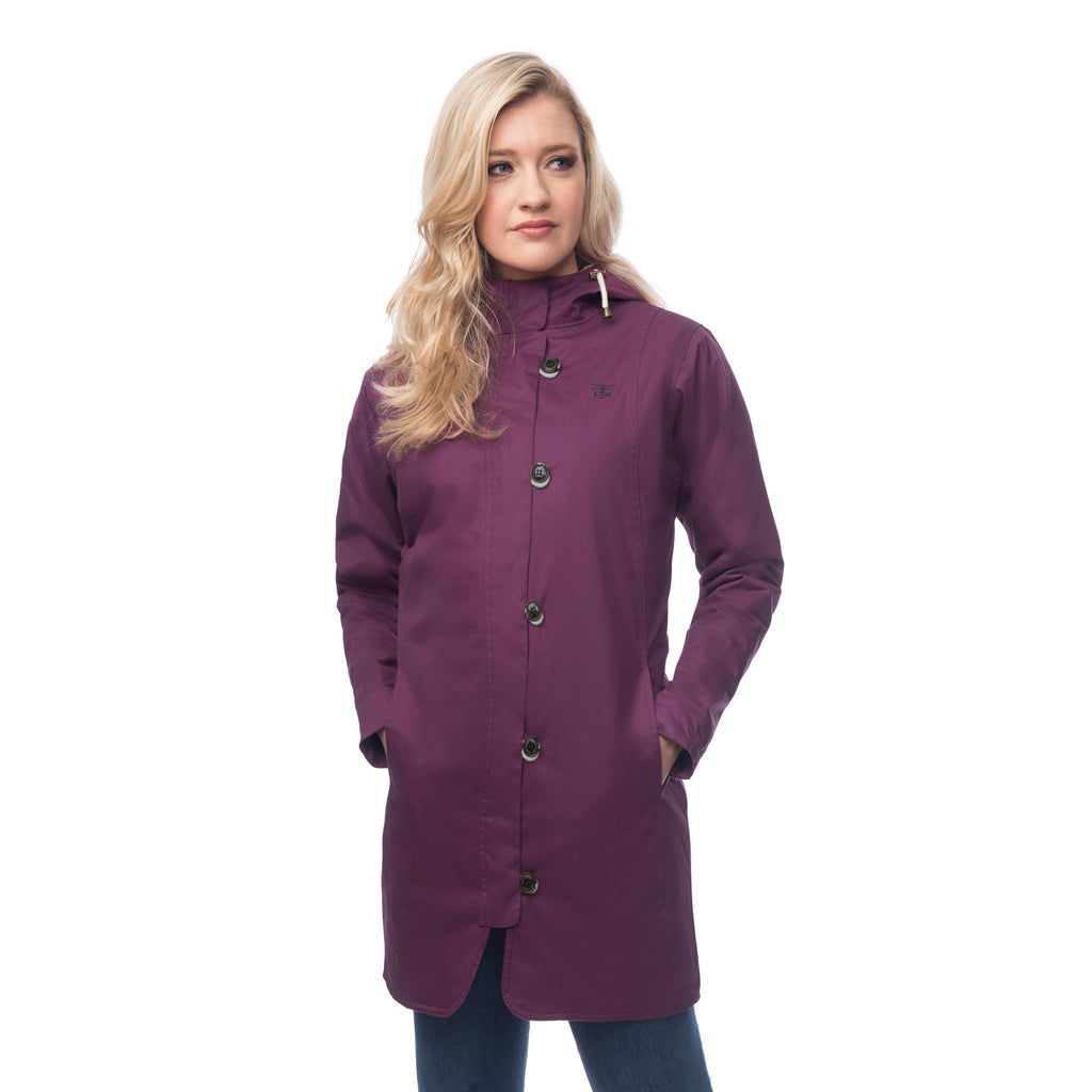 Lighthouse Womens Reva Waterproof Hooded Parka Raincoat in Plum. Coat zipped & buttoned.