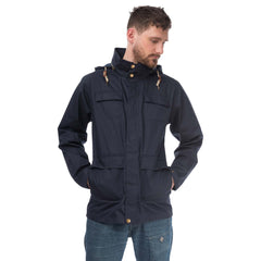 Rigger Mens Waterproof Jacket with Cotton Outer, in Ink Navy, Modelled Front View | Lighthouse