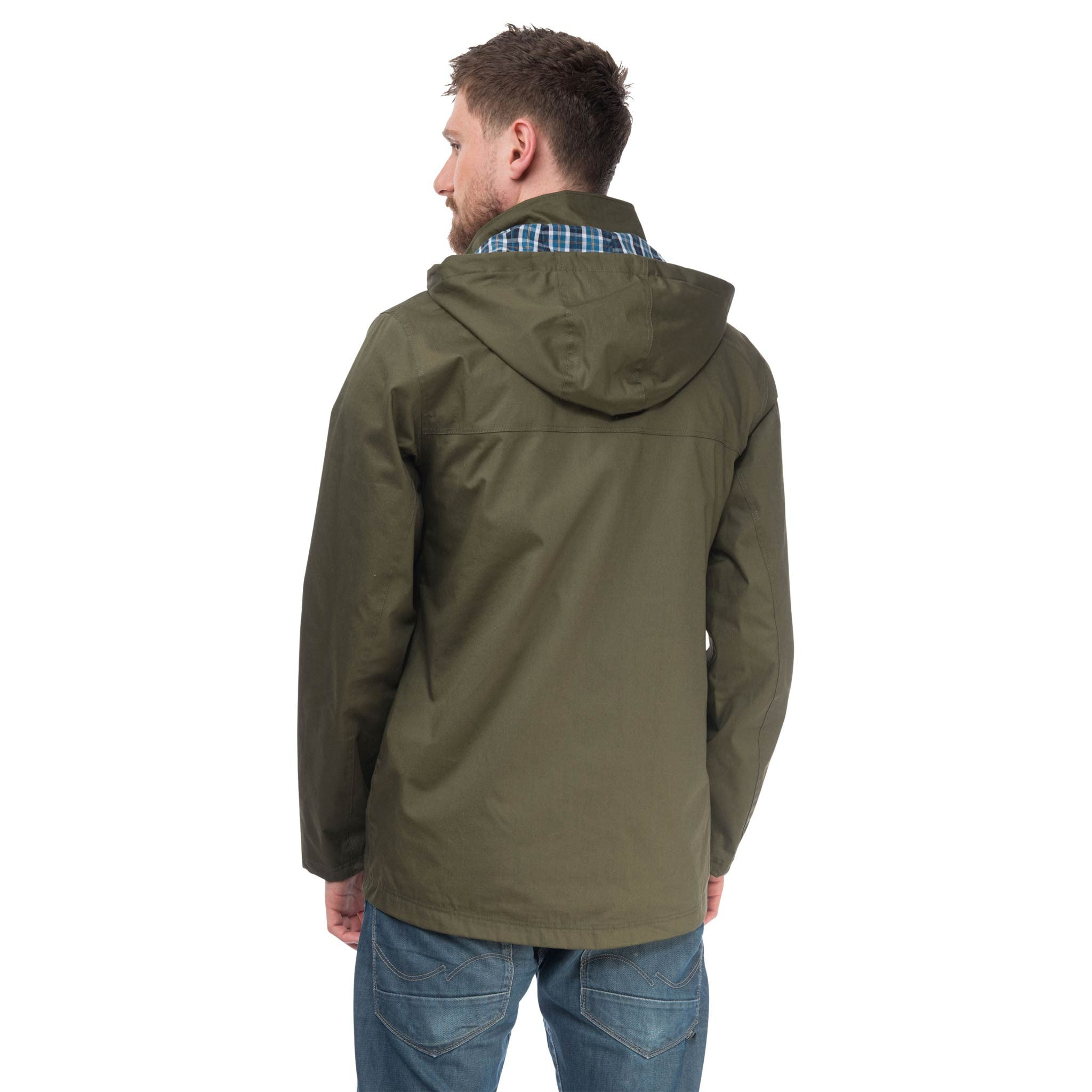 Rigger Mens Waterproof Jacket with Cotton Outer, in Olive, Modelled Back View | Lighthouse